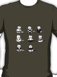 8 different cats in black and white T-Shirt