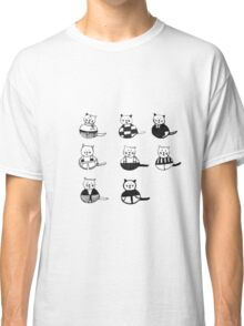 8 different cats in black and white Classic T-Shirt