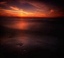 Dramatic sunset over dark water of lake Huron art photo print by ArtNudePhotos