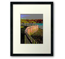 Curved fence Framed Print