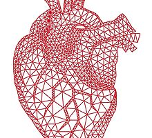 red human heart with geometric mesh pattern by beakraus