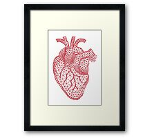 red human heart with geometric mesh pattern Framed Print