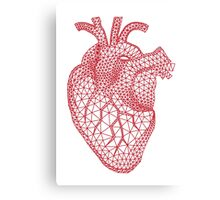 red human heart with geometric mesh pattern Canvas Print