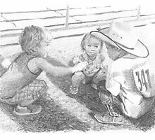 grandkids at the rodeo drawing by Mike Theuer