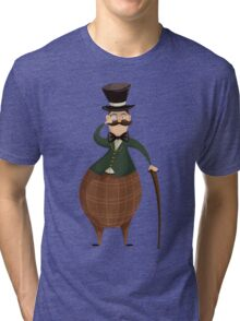 Gentleman with monocle and stick. Tri-blend T-Shirt