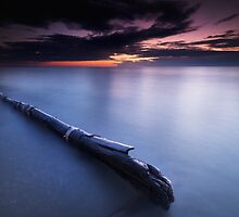Driftwood in dramatic sunset scenery at lake Huron Grand Bend art photo print by ArtNudePhotos