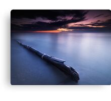 Driftwood in dramatic sunset scenery at lake Huron Grand Bend art photo print Canvas Print