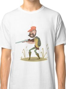 Hunter with gun and backpack.  Classic T-Shirt