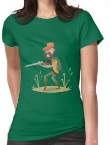 Hunter with gun and backpack.  Womens Fitted T-Shirt