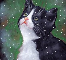Tuxedo Kitten Looking Up at Falling Snowflakes by Joyce Geleynse