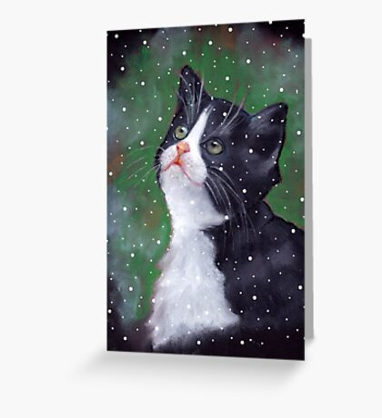 Tuxedo Kitten Looking Up at Falling Snowflakes Greeting Card