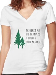 Through a Forest Wilderness Women's Fitted V-Neck T-Shirt