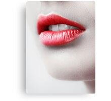 Closeup of young woman red lips art photo print Canvas Print