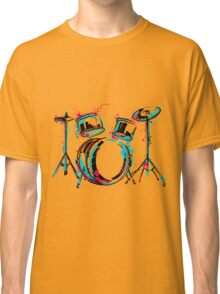 Drum kit with splashes in watercolor style. Classic T-Shirt