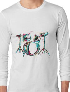 Drum kit with splashes in watercolor style. Long Sleeve T-Shirt