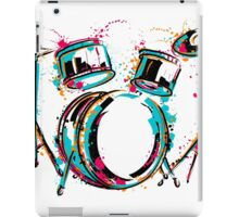 Drum kit with splashes in watercolor style. iPad Case/Skin