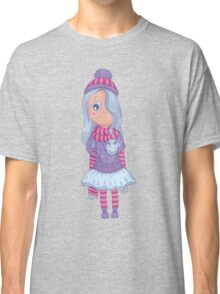 Cute anime girl in tutu and winter clothes with owl. Classic T-Shirt