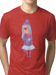 Cute anime girl in tutu and winter clothes with owl. Tri-blend T-Shirt