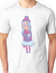Cute anime girl in tutu and winter clothes with owl. Unisex T-Shirt