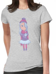 Cute anime girl in tutu and winter clothes with owl. Womens Fitted T-Shirt