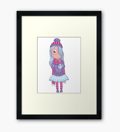 Cute anime girl in tutu and winter clothes with owl. Framed Print