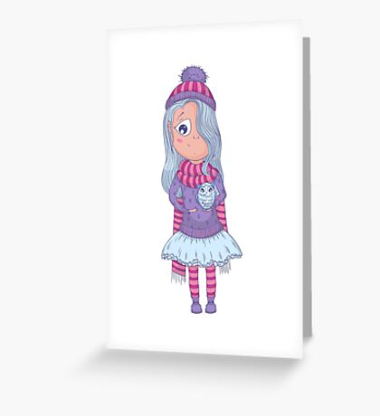 Cute anime girl in tutu and winter clothes with owl. Greeting Card