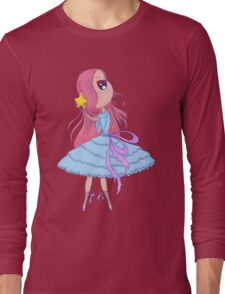 Cute anime ballerina with pink hair in tutu holding in her hands star. Long Sleeve T-Shirt