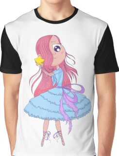 Cute anime ballerina with pink hair in tutu holding in her hands star. Graphic T-Shirt