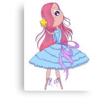 Cute anime ballerina with pink hair in tutu holding in her hands star. Canvas Print