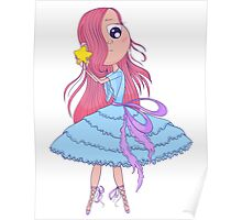 Cute anime ballerina with pink hair in tutu holding in her hands star. Poster