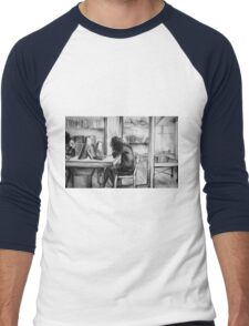 Watercolor of girl studying in a cafe or library  Men's Baseball ¾ T-Shirt