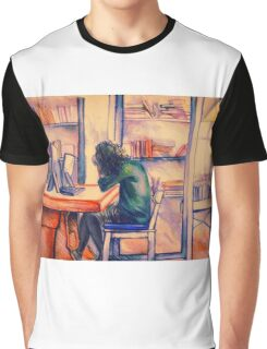Watercolor of girl studying in a cafe or library  Graphic T-Shirt