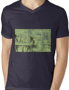 Watercolor of girl studying in a cafe or library  Mens V-Neck T-Shirt
