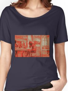 Watercolor of girl studying in a cafe or library  Women's Relaxed Fit T-Shirt