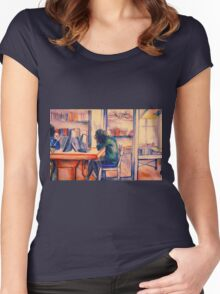 Watercolor of girl studying in a cafe or library  Women's Fitted Scoop T-Shirt