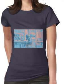 Watercolor of girl studying in a cafe or library  Womens Fitted T-Shirt