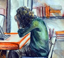 Watercolor of girl studying in a cafe or library  Sticker