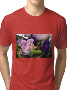 Purple and pink roses closeup  Tri-blend T-Shirt