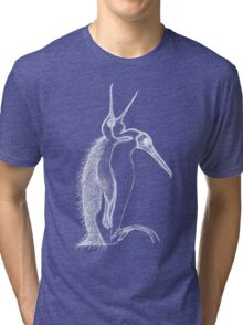 Scary penguin- white Tri-blend T-Shirt