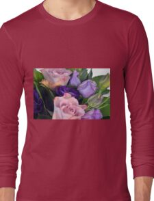 Purple and pink roses closeup  Long Sleeve T-Shirt