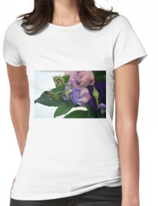 Purple and pink roses closeup  Womens Fitted T-Shirt