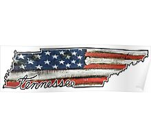 Tennessee State Outline with USA Flag Poster
