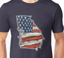 Georgia State Outline with USA Flag Unisex T-Shirt
