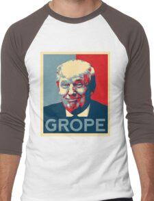 Donald Trump Grope Poster. (Obama hope parody) Men's Baseball ¾ T-Shirt