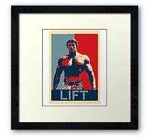 Arnold Lift Poster (Obama hope parody) Framed Print