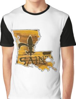Louisiana State Outline with Saints Graphic T-Shirt