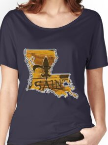 Louisiana State Outline with Saints Women's Relaxed Fit T-Shirt
