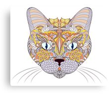 head of cat on white background Canvas Print