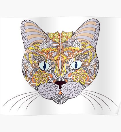 head of cat on white background Poster