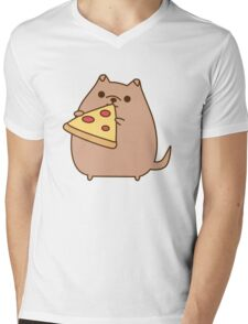 Pupsheen Eating Pizza Mens V-Neck T-Shirt